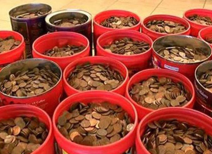 Jubilado llego al banco con 226 kilos de monedas que habia ahorrado