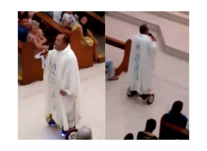 Insolito: Sancionan a sacerdote por dar misa en patineta